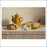 Stilleven met brood uit Emden eieren en koffiekan